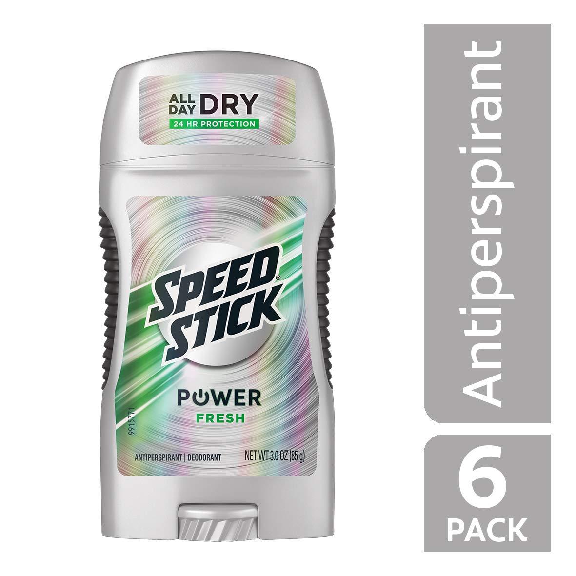 Speed Stick Power Antiperspirant Deodorant for Men, Fresh - 3 Ounce (Pack of 6)