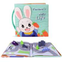 TUMAMA Soft Activity Cloth Book for Life Education, Learning Skill, Sensory and Developmental, Baby Toy Crinkle Cloth Books, Bath Toys Gift for 6 9 12 Months and up, Boys, Girls, Toddlers