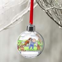 PrintedPerfection.com Personalized Friendly Folks Cartoon Globe Christmas Ornament: Dog Lover, Dog Walker, Pet Sitter, Animal Rescue - Male