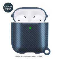 AirPods Case Protective Cover Compatible with AirPods Wireless Charging Case 2 & 1 with Keychain Full Protection Skin Cover Case,Front LED Visible(Blue-Carbon Fiber)