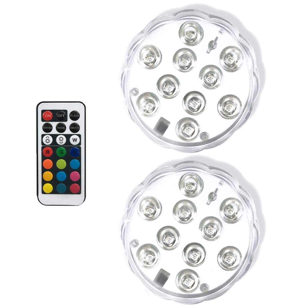 Honche 10 Submersible LED Lights with Remote Control IP68 Waterproof Swimming Pool/Pond Lights Multi Color Changing Battery Operated for Pool Party Vase Pond Fountain(2Pack)