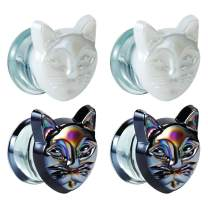 TBOSEN 2 PCS Glass Gauges for Ears Cat Ear Plugs and Tunnels Kitty Strechers 2g - 5/8 inch