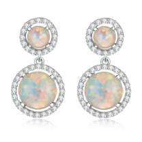 "CiNily Womens Jewelry Gifts Rhodium Plated Green Fire Opal Emerald Women Jewelry Gemstone Stud Earrings 1 1/8"""
