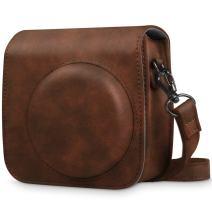 Fintie Protective Case Compatible with Fujifilm Instax Mini 8 Mini 8+ Mini 9 Instant Camera - Premium Vegan Leather Bag Cover with Removable Strap, Vintage Brown