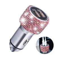 Quick Charge Car Charger, SAVORI QC3.0 Dual USB Car Adapter Bling Rhinestones Crystal Fast Charging Car Decors Compatible for iPhone Xs Max XR X Plus, iPad Pro/Air 2/Mini, Samsung Galaxy (Pink)