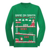 Video Game On Santa 8bit Ugly Chritsmas Gamers Youth Kids Long Sleeve T-Shirt