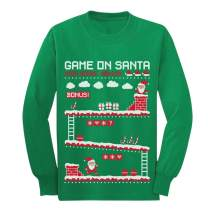 Video Game On Santa 8bit Ugly Chritsmas Gamers Youth Kids Long Sleeve T-Shirt