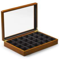 Oirlv Solid Wooden Jewelry Box Rings Earrings Necklaces Display Case with Lid Vintage Jewelry Organizer Box for Women