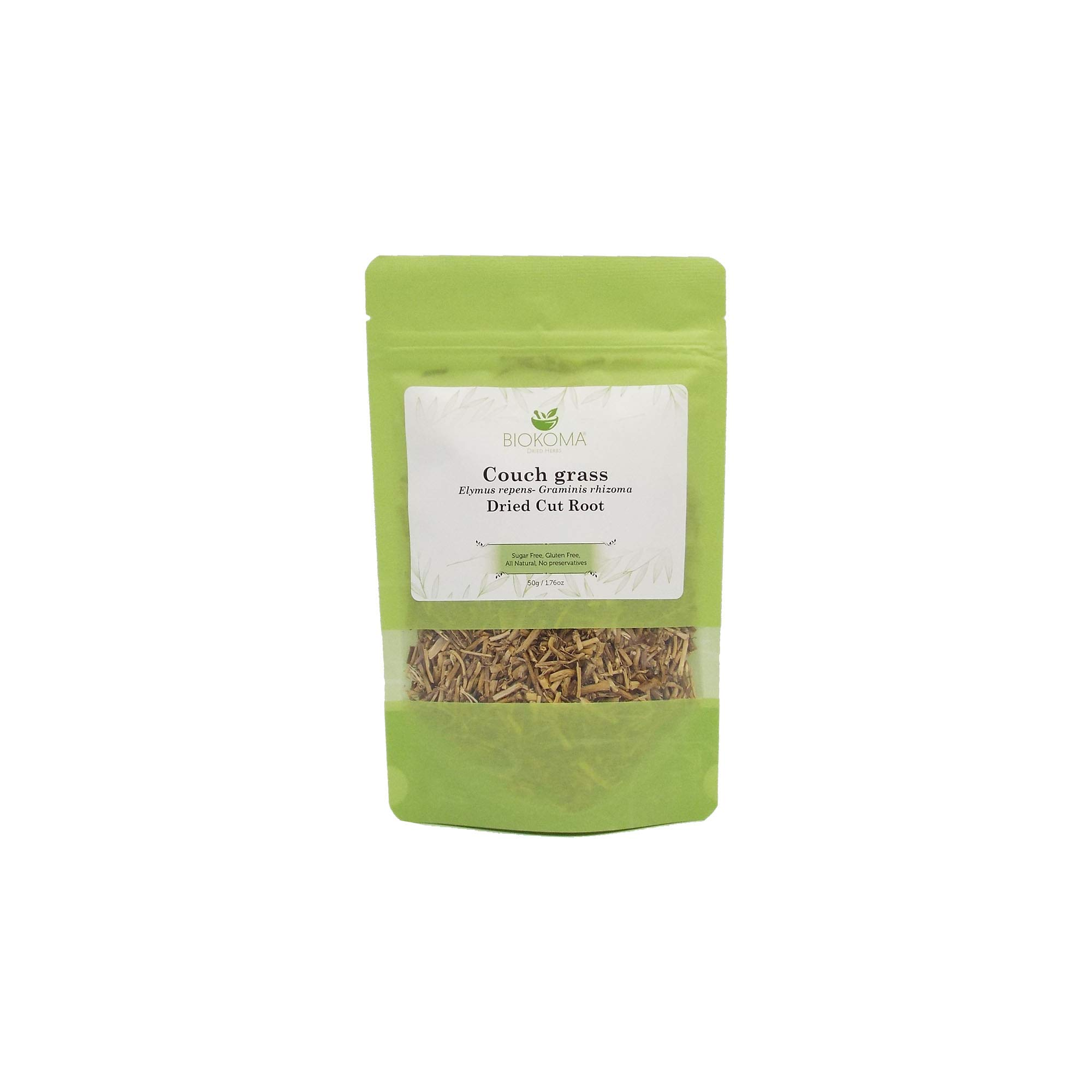 100% Pure and Organic Biokoma Couch Grass Dried Cut Root 50g (1.76oz) in Resealable Moisture Proof Pouch