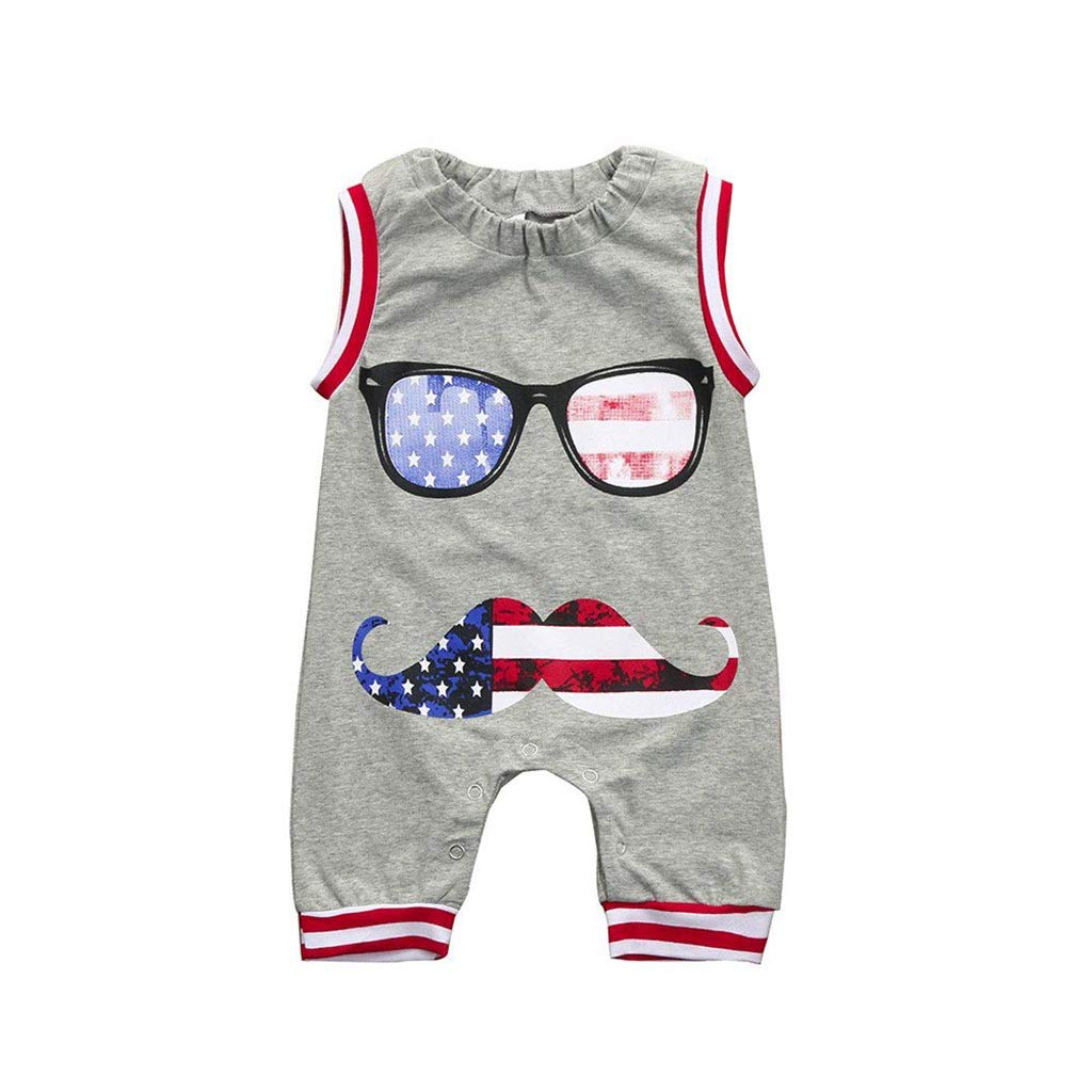 Ritatte Baby Romper Jumpsuit Clothes Newborn Toddler Boys US Flag with Glasses