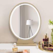 Large Vanity Makeup Mirror with Lights,Smart Remote Control HD Lighted Mirror,3 Colors Adjustable Brightness Detachable Tabletop Mirror (Gold)