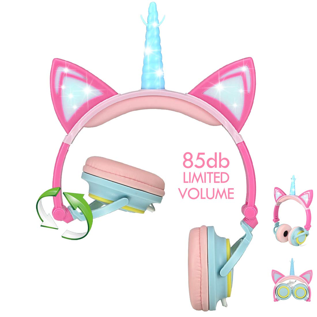 Nice2Mitu Cat Ear Kids Headphones for Girls Tablet School Supplies, Led Glowing Headphones for Kids, Foldable Over On Ear Girl Headphones Toddlers Travel Birthday Gifts (Pink)