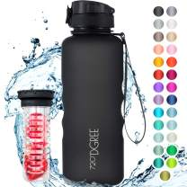 "720°DGREE Water Bottle ""uberBottle"" - 50oz; 1.5 liter | Leak-Proof Tritan Sports Bottles for School, Fitness, Gym, Kids | BPA Free - With Fruit Infuser (1500ml, Onyx Black)"