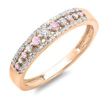 Dazzlingrock Collection 14K Round Gemstone & Diamond Ladies Anniversary Wedding Band Ring, Rose Gold