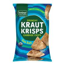 Sea Salt Kraut Krisps by Farmhouse Culture, Crunchy Cabbage Chips, Organic, Vegan, Gluten Free, No Added Sugars, Family Size Bag, 11 oz