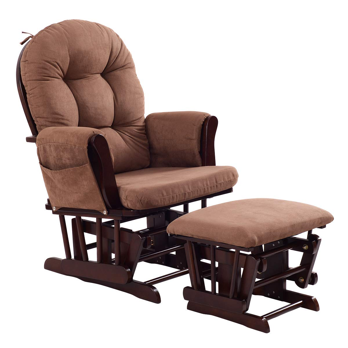 Costzon Baby Glider and Ottoman Cushion Set, Wood Baby Rocker Nursery Furniture, Upholstered Comfort Nursery Chair & Ottoman with Padded Arms (Espresso)