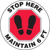 """Accuform Round Social Distancing Floor Sign""""Stop Here, Maintain 6 FT"""" (with Footprints in Octagon), 12"""" Diameter, MFS388"""