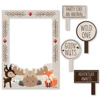 Big Dot of Happiness Woodland Creatures - Birthday Party or Baby Shower Selfie Photo Booth Picture Frame & Props - Printed on Sturdy Material