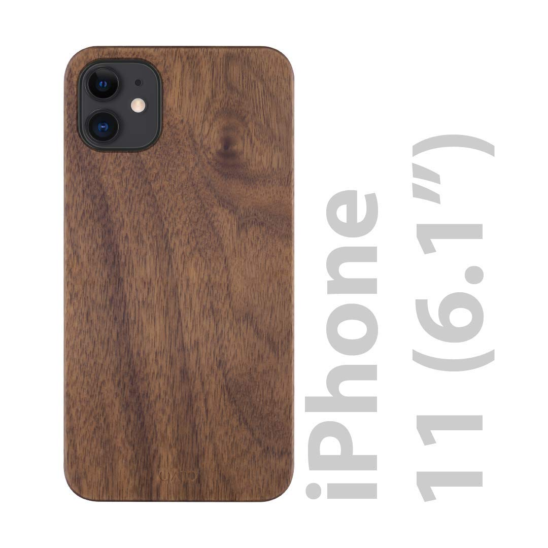 iATO iPhone 11 Case Wood. Unique & Classy Real Natural Walnut Wood iPhone 11 Case {Fully Protective Shockproof TPU Black Bumper with Raised Lip Bezel for Screen Protection} iPhone 11 Wood Case
