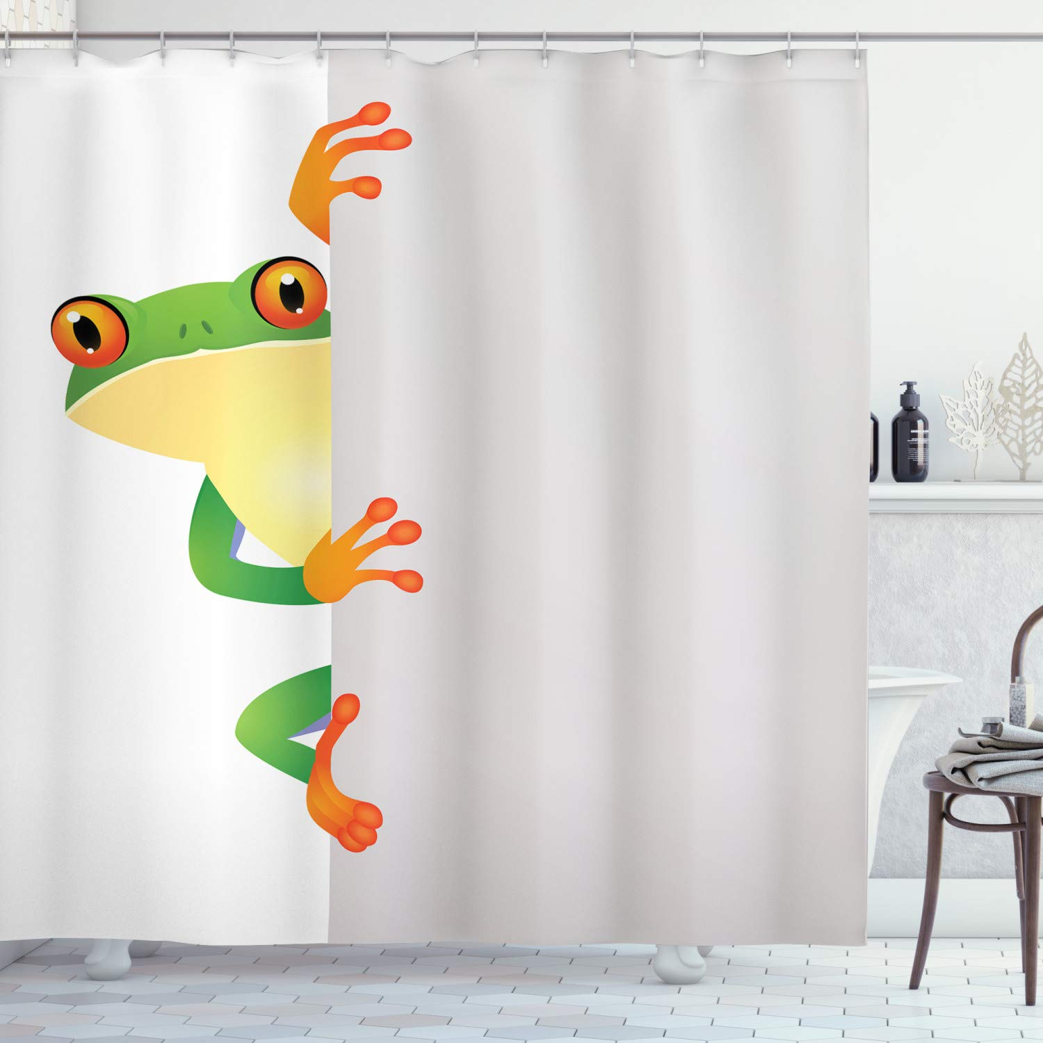 """Ambesonne Reptile Shower Curtain, Funky Frog Prince with Big Eyes on Wall Camouflage Nursery Reptiles Theme, Cloth Fabric Bathroom Decor Set with Hooks, 84"""" Long Extra, Yellow Green"""