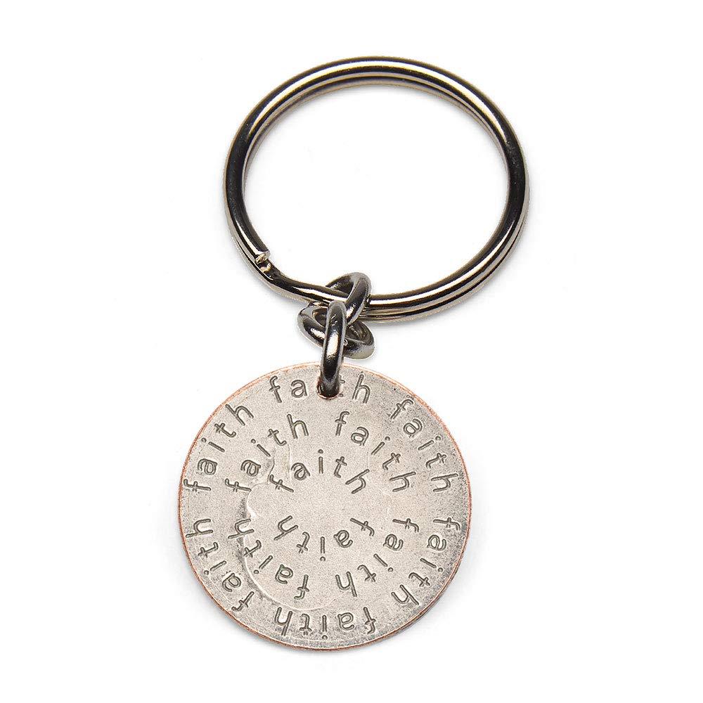 Mariamor Faith Quarter Keychain, Silver