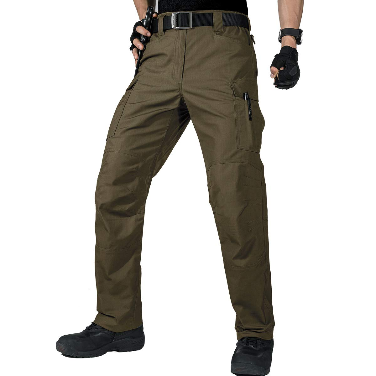 FREE SOLDIER Men's Water Resistant Pants Relaxed Fit Tactical Combat Army Cargo Work Pants with Multi Pocket (Dark Green 40W/30L)
