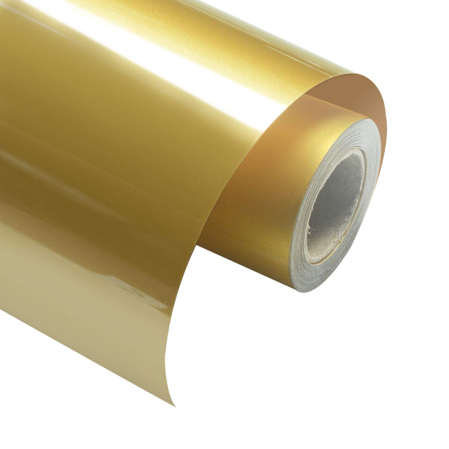 """PU Heat Transfer Vinyl Gold HTV 10"""" x12FT Iron on Vinyl Roll for T-Shirts, Hats, Clothing Compatible with Silhouette Cameo and Cricut"""