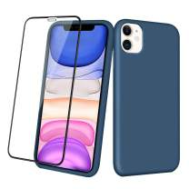 Aemotoy Case for iPhone 11 Soft Rubber Silicone Case Full Body Wrapped 2 in 1 with Tempered Glass Anti-Scratch Shock Absorption Slim Cover Case for 2019 Release 6.1 Inches iPhone 11, Dark Blue
