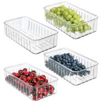 mDesign Plastic Kitchen Refrigerator Produce Storage Organizer Bin with Open Vents for Air Circulation - Food Container for Fruit, Vegetables, Lettuce, Cheese, Fresh Herbs, Snacks - S, 4 Pack - Clear