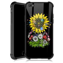 iPhone 6s Case,Sunflower Psychedelic iPhone 6 Cases for Girls,Tempered Glass Back Cover Anti Scratch Reinforced Corners Soft TPU Bumper Shockproof Case for iPhone 6/6s Geometry Strry
