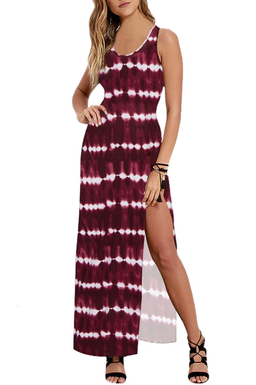 Cutiefox Womens High Slit Sleeveless Tank Bodycon Maxi Beach Dresses