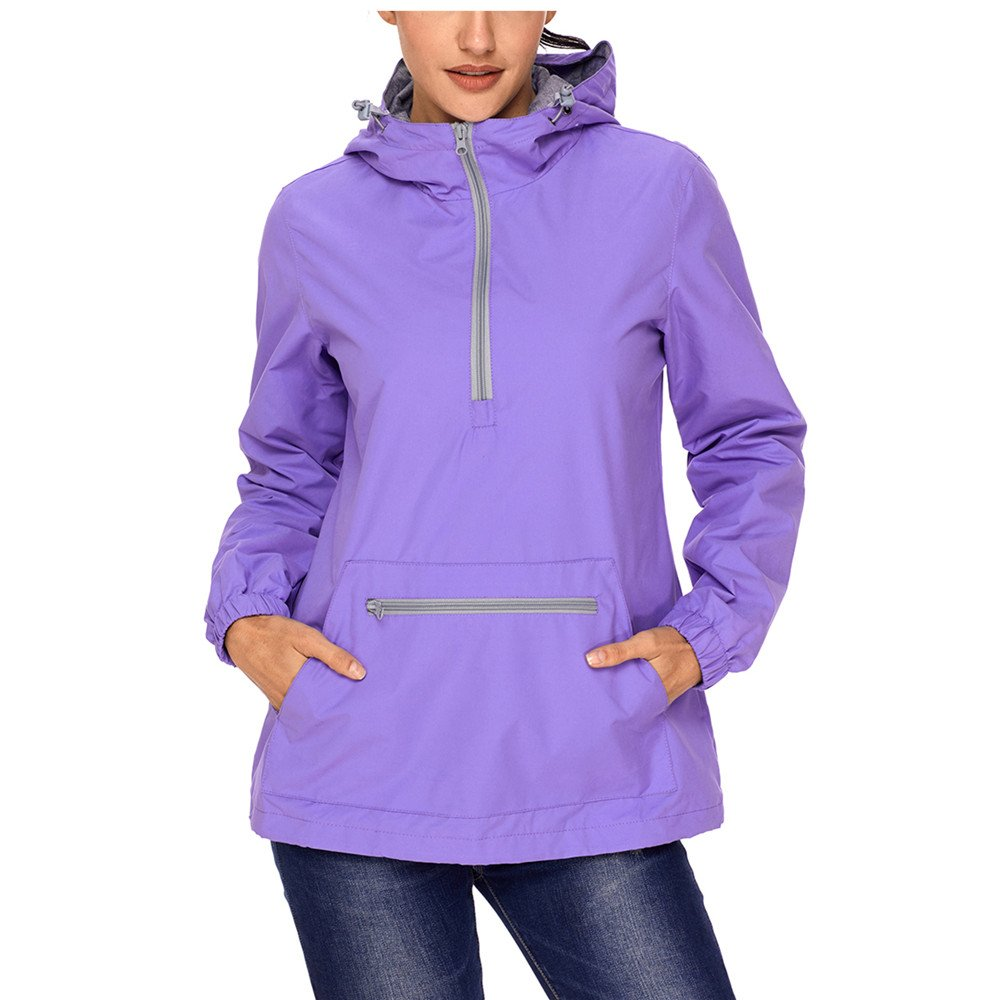 Lrady Women's Raincoat Active Outdoor Waterproof Rain Jacket Hooded Windbreaker
