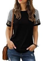 SLIMMING GRIL Women's Long Sleeve Color Block Tunic Tops Blouse Sweatshirt