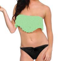 LOEL Sexy Lady Padded Athletic Two-Piece Boho Fringe Tassels Swimsuit