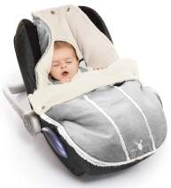 Wallaboo Baby Universal Bunting Bag, for Car Seat Stroller Pushchair, Footmuff Sack, Luxurious suéde and Soft Faux sheerling, Newborn Upto 12 Months, 84 x 50 cm, Size: 33 x 20 inch, Color: Silver