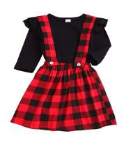 Baby Outfits Girl Long Sleeve T-Shirt Ruffle Top Overalls Strap Dress Clothes Set Plaid Skirt Winter