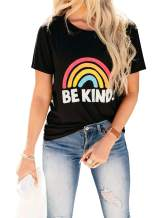 Blooming Jelly Womens Be Kind T Shirts Short Sleeve Rainbow Graphic Shirt Summer Casual Cute Tops Tee