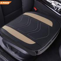 Big Ant Car Seat Covers 2 Pack, Universal Luxury PU Leather Cover Protector for Front Seat Bottom, Non-Slip Driver Seat Pad for Car Sedan Truck Van and SUV(Black and Beige)
