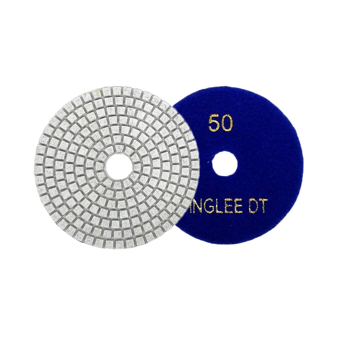 FINGLEE DT 4 inch Diamond Dry Wet Polishing Pads Diamond Resin discs for Granite Marble Quartz (3pcs Grit50)