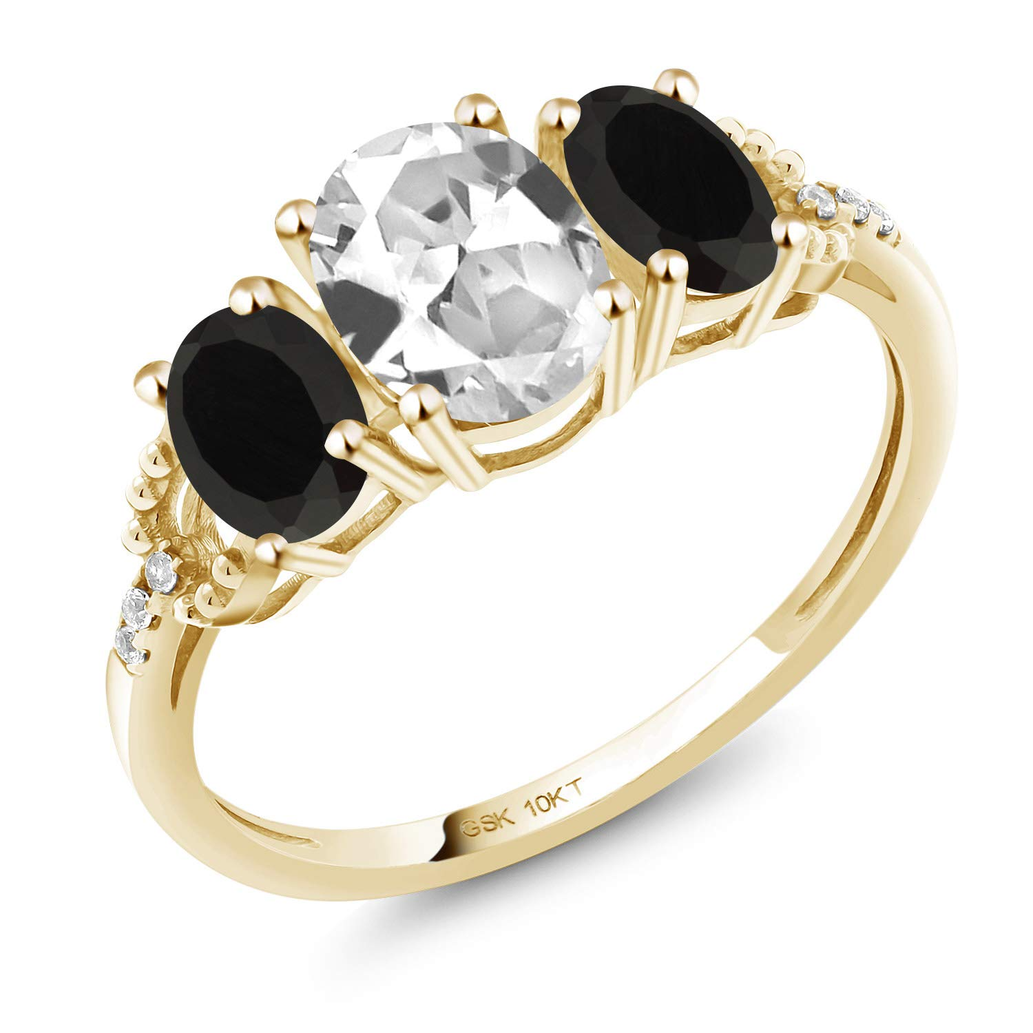 Gem Stone King 10K Yellow Gold Engagement Ring 1.82 Ct Oval White Created Sapphire Black Onyx