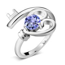 Gem Stone King 925 Sterling Silver Blue Tanzanite Women Heart Key Ring (0.46 Ct Round Gemstone Birthstone Available in size 5, 6, 7, 8, 9)