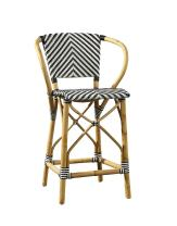 Oliver Pierce Baskerville Chevron Counter Stool, Black and White