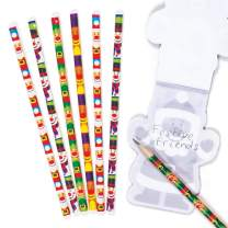 Baker Ross Festive Friends Pencils, Christmas Arts and Crafts (Pack of 12)
