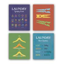 """HPNIUB Laundry Guide Wall Art,Set of 4 (8""""X10"""",Laundry Quotes Wall Decor, Funny Quotes Canvas Posters for Bathroom Laundry Room Decor, No Frame"""