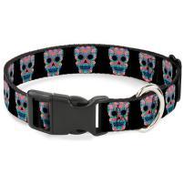Buckle-Down Plastic Clip Collar - Wonder Woman Floral Skull Black/Multi Pastel