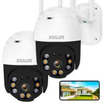 SoulLife Outdoor Security Camera, WiFi Camera 1080P HD Pan Tilt Zoom, Motion Detection Alarm, Two-Way Audio Night Vision, Support Max 128GB SD WiFi Home Indoor Camera,2 Packs (B-Black)