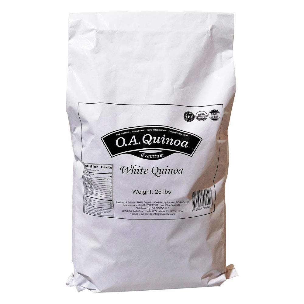 Royal Organic White OA Quinoa (25 Lb Bulk Bag)