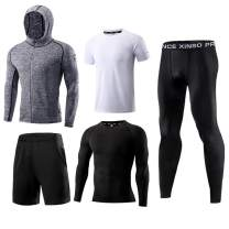 1Bests Men Running Fitness Sets Jogging Compression Sportswear Quick Dry Gym Workout Sport Suits