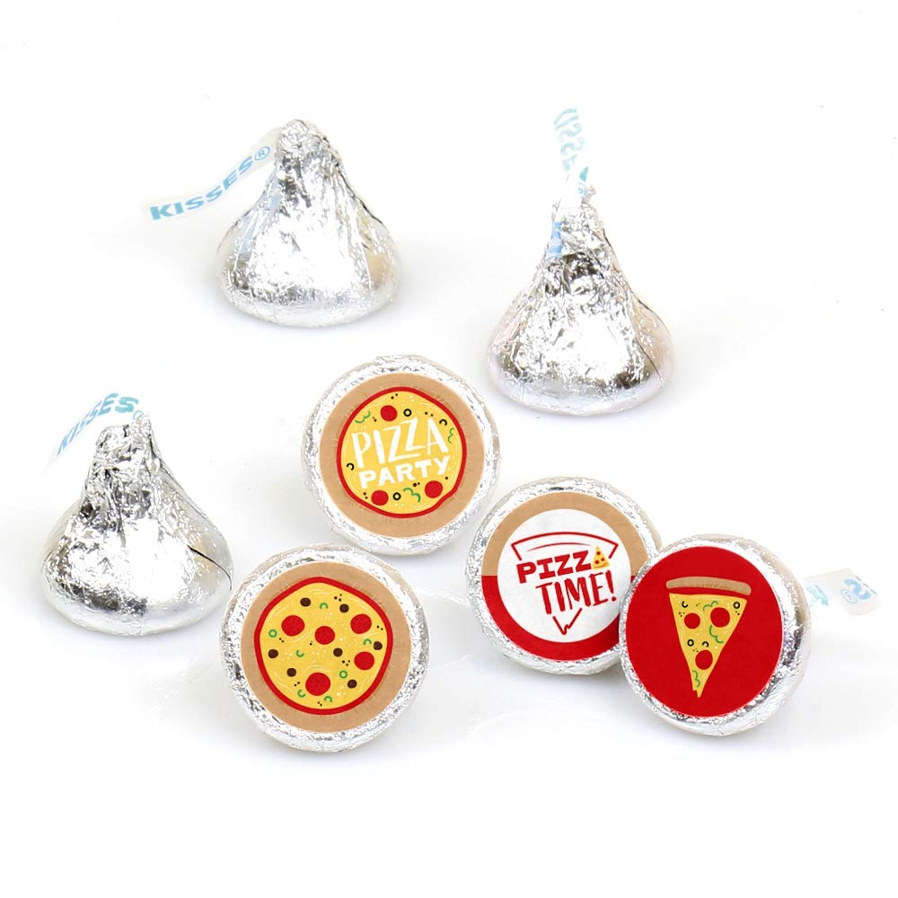 Pizza Party Time - Baby Shower or Birthday Party Round Candy Sticker Favors - Labels Fit Hershey's Kisses (1 Sheet of 108)
