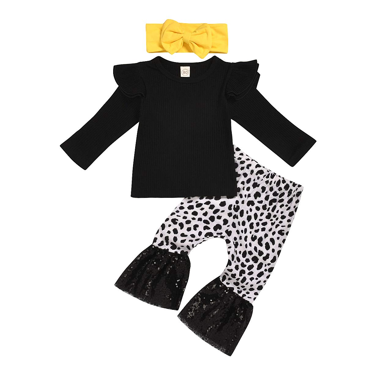 Baby Girl Ruffles Pants Sets Toddler Long Sleeve T-Shirt + Leopard Print Lace Bell-Bottom Pants with Bow Headband Outfits